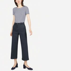 Everlane 2019 NWT Wide Leg Crop Pant In Navy Blue
